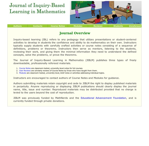 JIBLM.org - Journal of Inquiry-Based Learning in Mathematics - IBL Course Notes in Mathematics