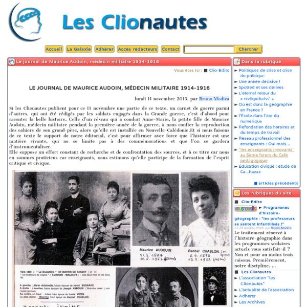 Le journal de Maurice Audoin, médecin militaire 1914-1916