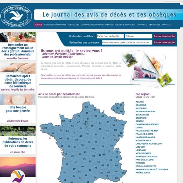 Avis de décès - Site national de publications nécrologiques
