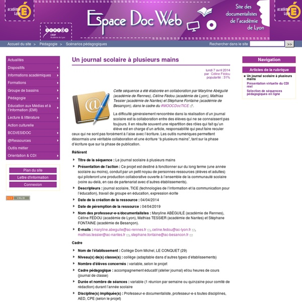 Un journal scolaire à plusieurs mains - Espace Doc Web