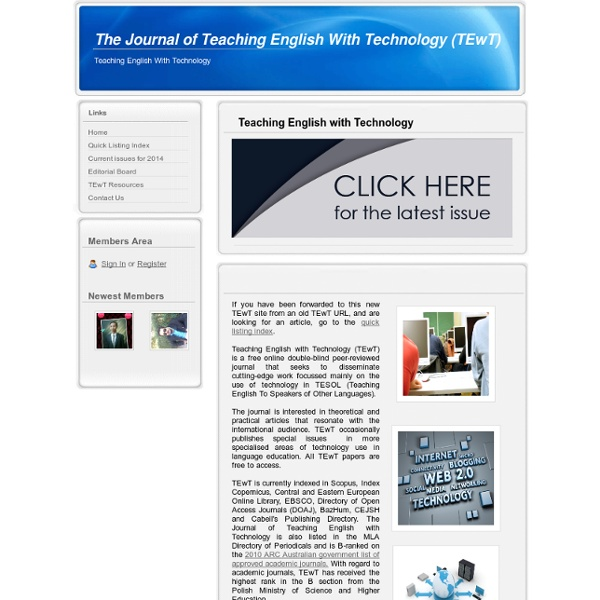 Home - The Journal of Teaching English With Technology (TEwT)