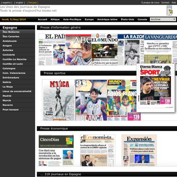 Les Unes des journaux de Espagne. Toute la presse d'aujourd'hui. Kiosko.net