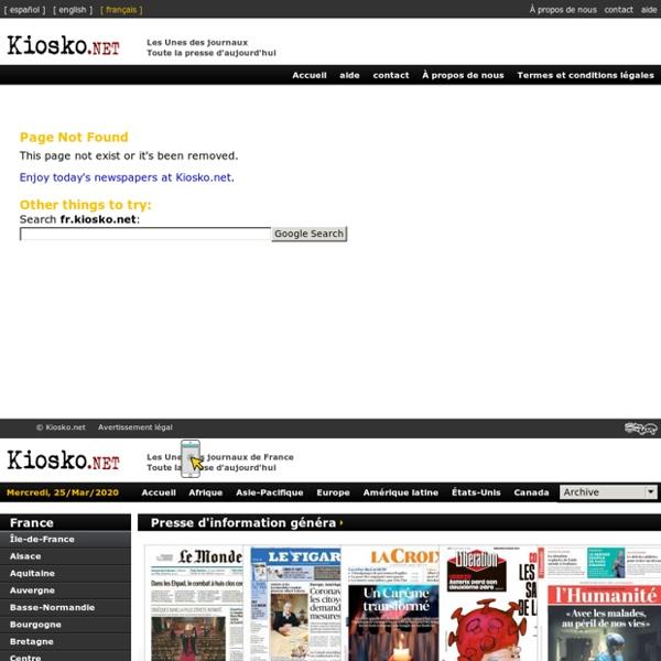 Les Unes des journaux de France. Toute la presse d'aujourd'hui. Kiosko.net