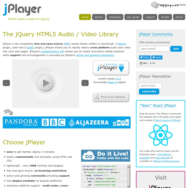 jPlayer : HTML5 Audio & Video for jQuery