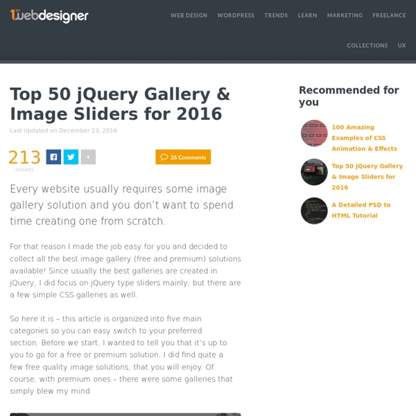55 Fresh jQuery Gallery And Image Sliders: Best of 2016