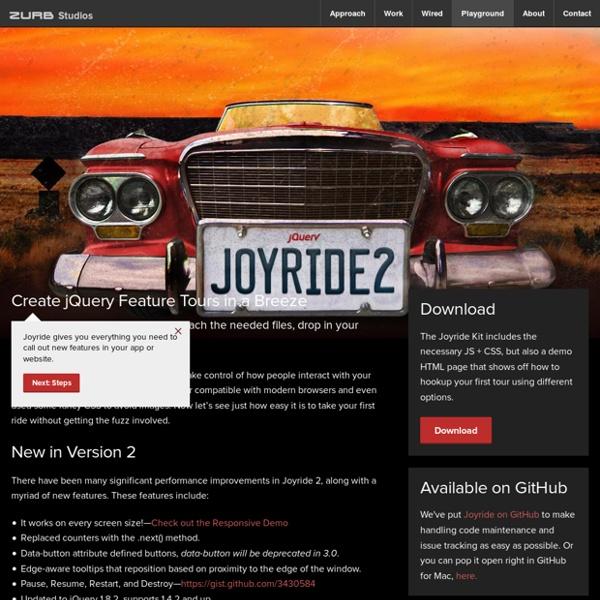 jQuery Joyride Feature Tour Plugin - ZURB Playground - ZURB.com