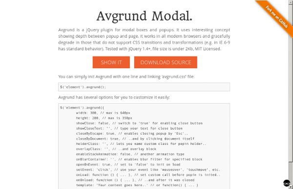 jQuery plugin for Avgrund concept popin