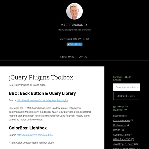 List of Useful jQuery Plugins   Pearltrees