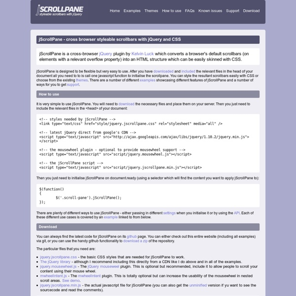 jScrollPane - cross browser styleable scrollbars with jQuery and CSS