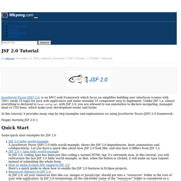 Jsf 2 0 tutorials for beginners