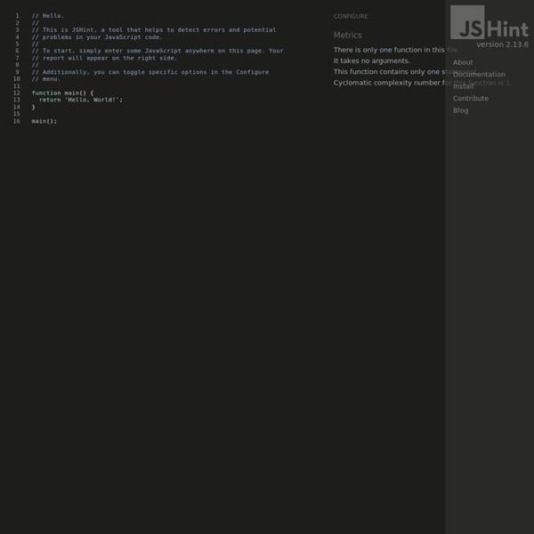 JSHint, a JavaScript Code Quality Tool