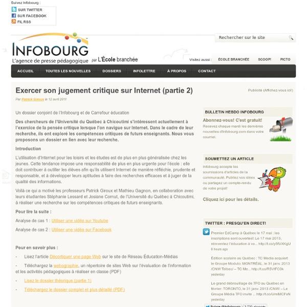 Exercer son jugement critique sur Internet (partie 2)