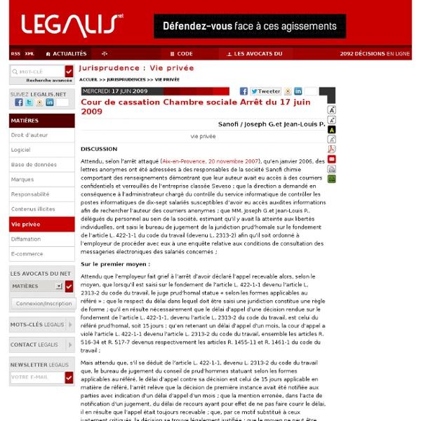 Cour de cassation Chambre sociale Arrêt du 17 juin 2009