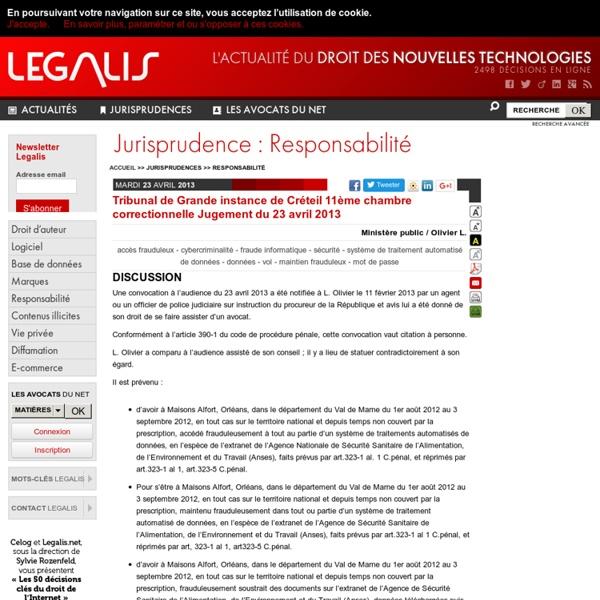 Tribunal de Grande instance de Créteil 11ème chambre correctionnelle Jugement du 23 avril 2013