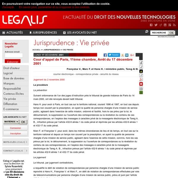 Cour d'appel de Paris, 11ème chambre, Arrêt du 17 décembre 2001