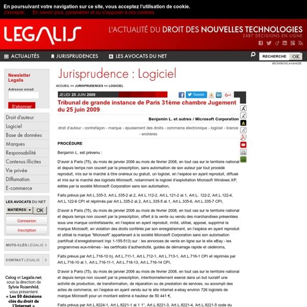Tribunal de grande instance de Paris 31ème chambre Jugement du 25 juin 2009