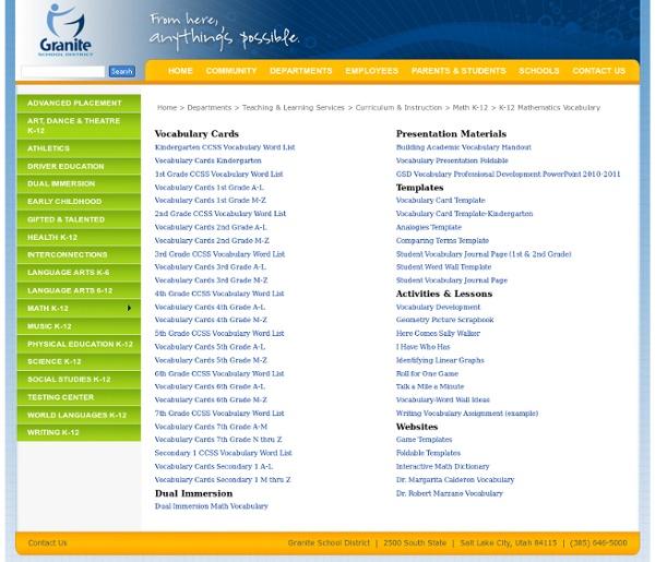 K-12 Mathematics Vocabulary