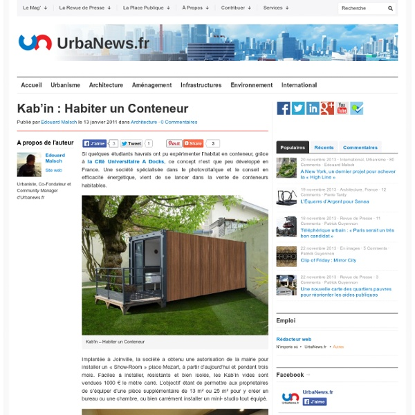 Kab 39 in habiter un conteneur pearltrees for Habiter container