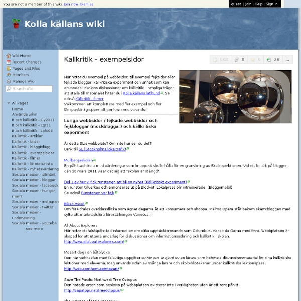 Källkritik - exempelsidor — kollakallans.wikispaces