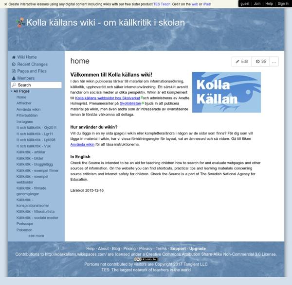 Kolla källans wiki - home
