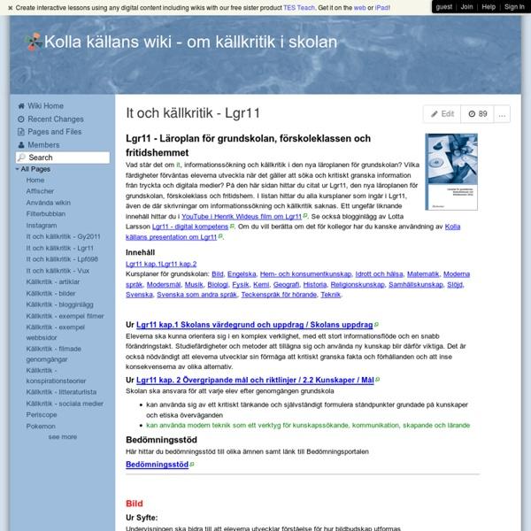 Kolla källans wiki - It och källkritik - Lgr11