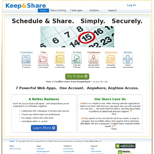 Keep&Share: Online Secure Sharing of Calendars, Files, Addresses, To Dos, Databases & Photos