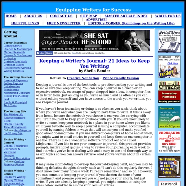Keeping a Writer's Journal: 21 Ideas to Keep You Writing