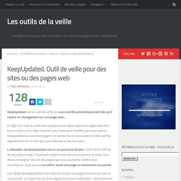 KeepUpdated. Outil de veille pour des sites ou des pages web