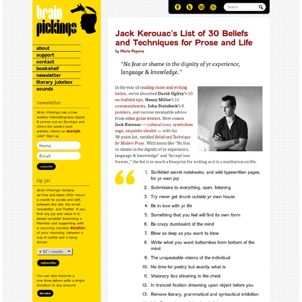 Jack Kerouac's List of 30 Beliefs and Techniques for Prose and Life