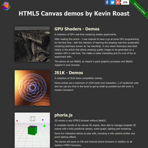 Kevs3D - HTML5 Canvas demos by Kevin Roast