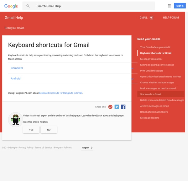 Keyboard shortcuts for Gmail - Gmail Help