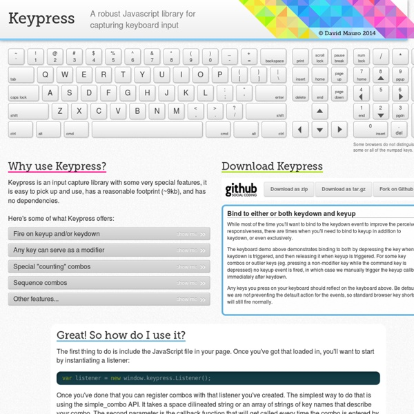 Keypress: A Javascript library for capturing input