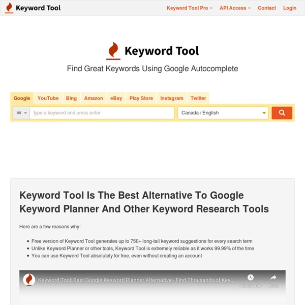 Keyword Tool #1 FREE Alternative To Google Keyword Planner for SEO