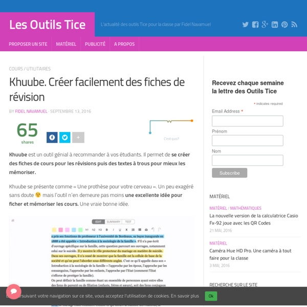 Khuube. Créer facilement des fiches de révision – Les Outils Tice
