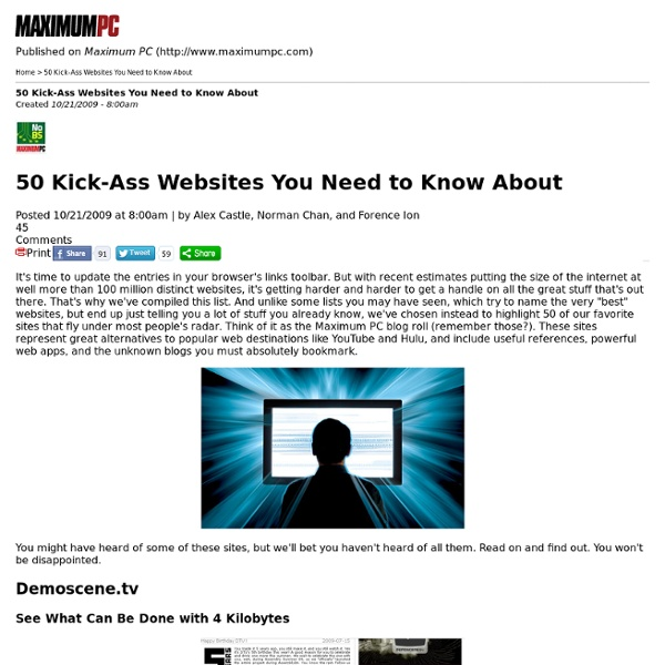 50 Kick-Ass Websites You Need to Know About