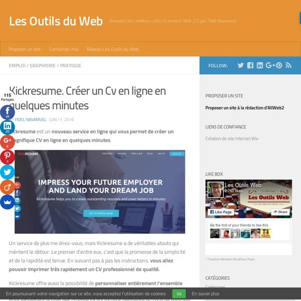 Kickresume. Créer un Cv en ligne en quelques minutes
