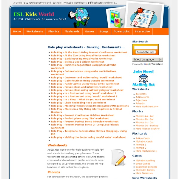 ESL Kids World - Role play worksheets : Pearltrees