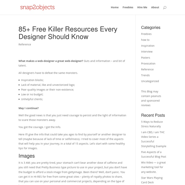 85+ Free Killer Resources Every Designer Should Know