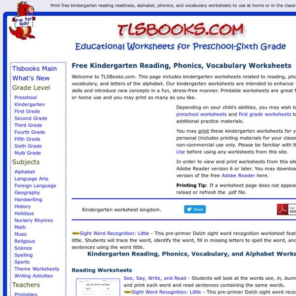 free kindergarten worksheetsreading phonics vocabulary - Kindergarten Worksheets To Print