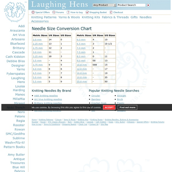 Knitting Needle Conversion Chart From Laughing Hens Pearltrees