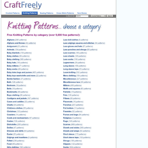 Free Knitting Patterns by Category - 9,000+ Free Knitting Patterns and Crocheting Patterns