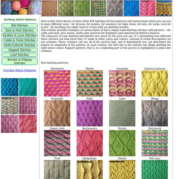 Knitting Pattern Stitch Library : Knitting Stitch Patterns Pearltrees