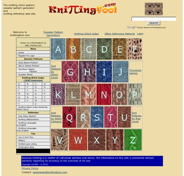 Knitting Stitch Menu