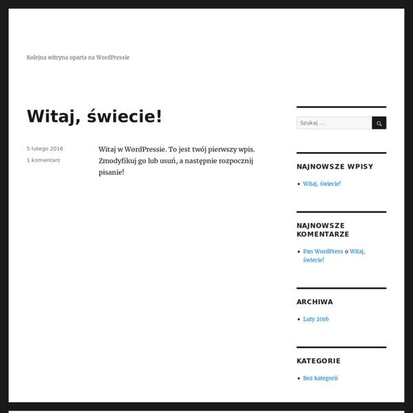 Kolejna witryna oparta na WordPressie