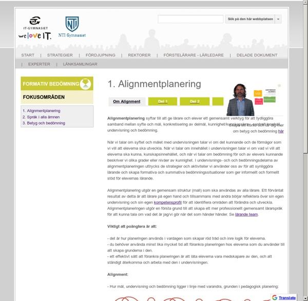 1. Alignmentplanering - Kollegialt lärande