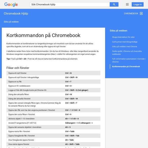 Kortkommandon på Chromebook - Chromebook Hjälp