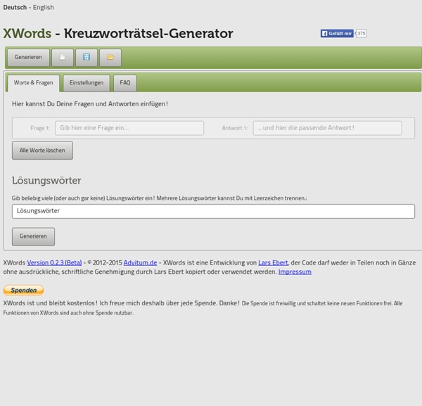 XWords - der kostenlose Online-Kreuzworträtsel-Generator
