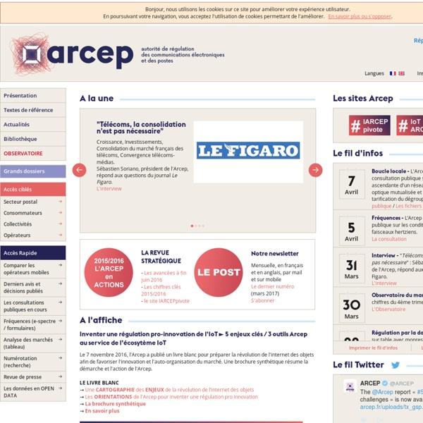 L'actualité de l'ARCEP