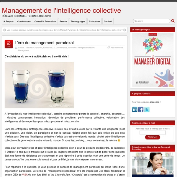 L'ère du management paradoxal - Management de l'intelligence collective
