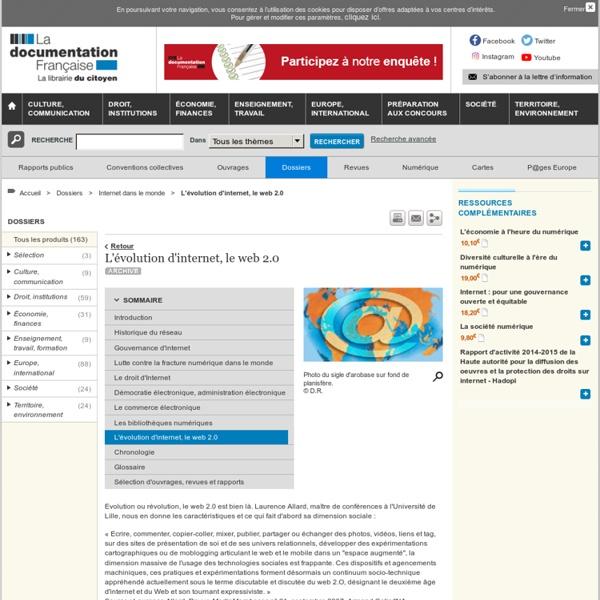 L'évolution d'internet, le web 2.0 - Internet dans le monde - Dossiers